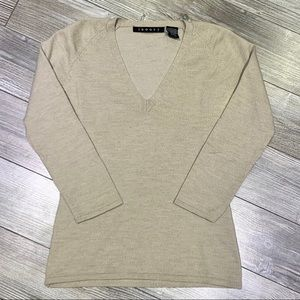 Theory | V-neck Wool Sweater 3/4 Length Sleeves